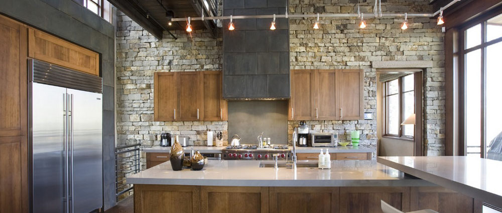 Kitchen Design With Stone Wall